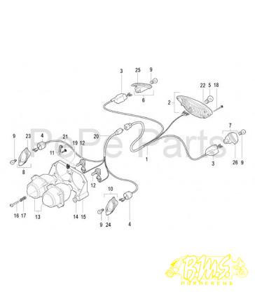 koplampunit f12r lc orig 01507000 tekening NR13