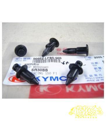 Spreidnagel zwart met punt 90652-LFB5-900 DRUKKNOP NEW SENTO BEENSCHILD ø6,1mm x21mm
