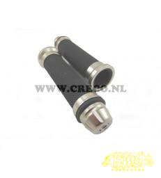 HANDVATSET + STUURBALANS PUNT CHROOM 212-CT  ZWART POWER ONE
