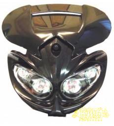 KOPLAMP zwart 4 LAMPEN HALOGEEN