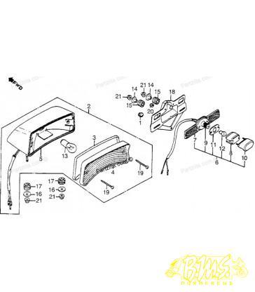 Honda vf750 / vt1100 SC18 1985-86 / 33720-MG8-670 KENTEKENPLAAT VERLICHTING (TEKENING NR 6)